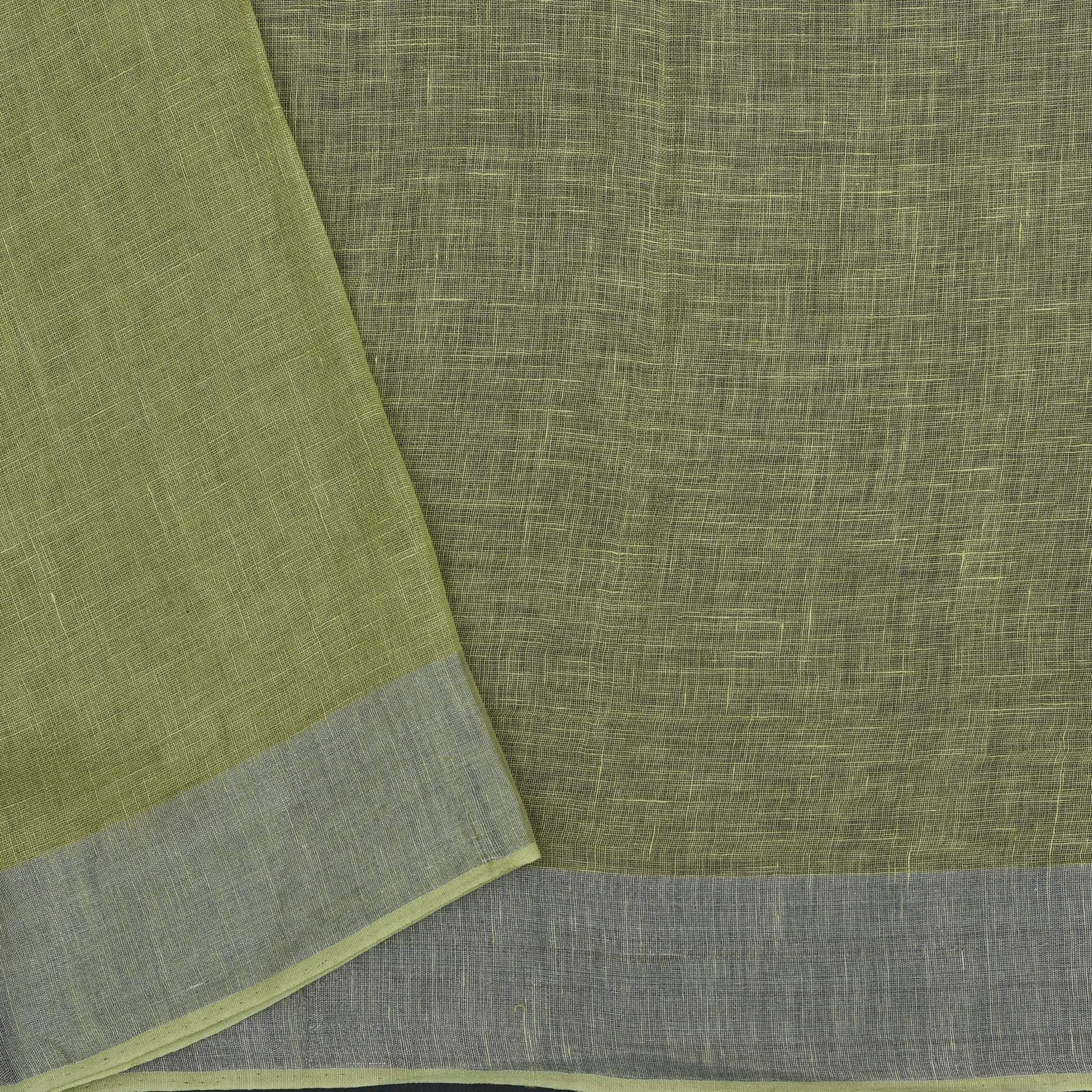 BB077003-Olive Green Handloom Linen Embroidered Saree