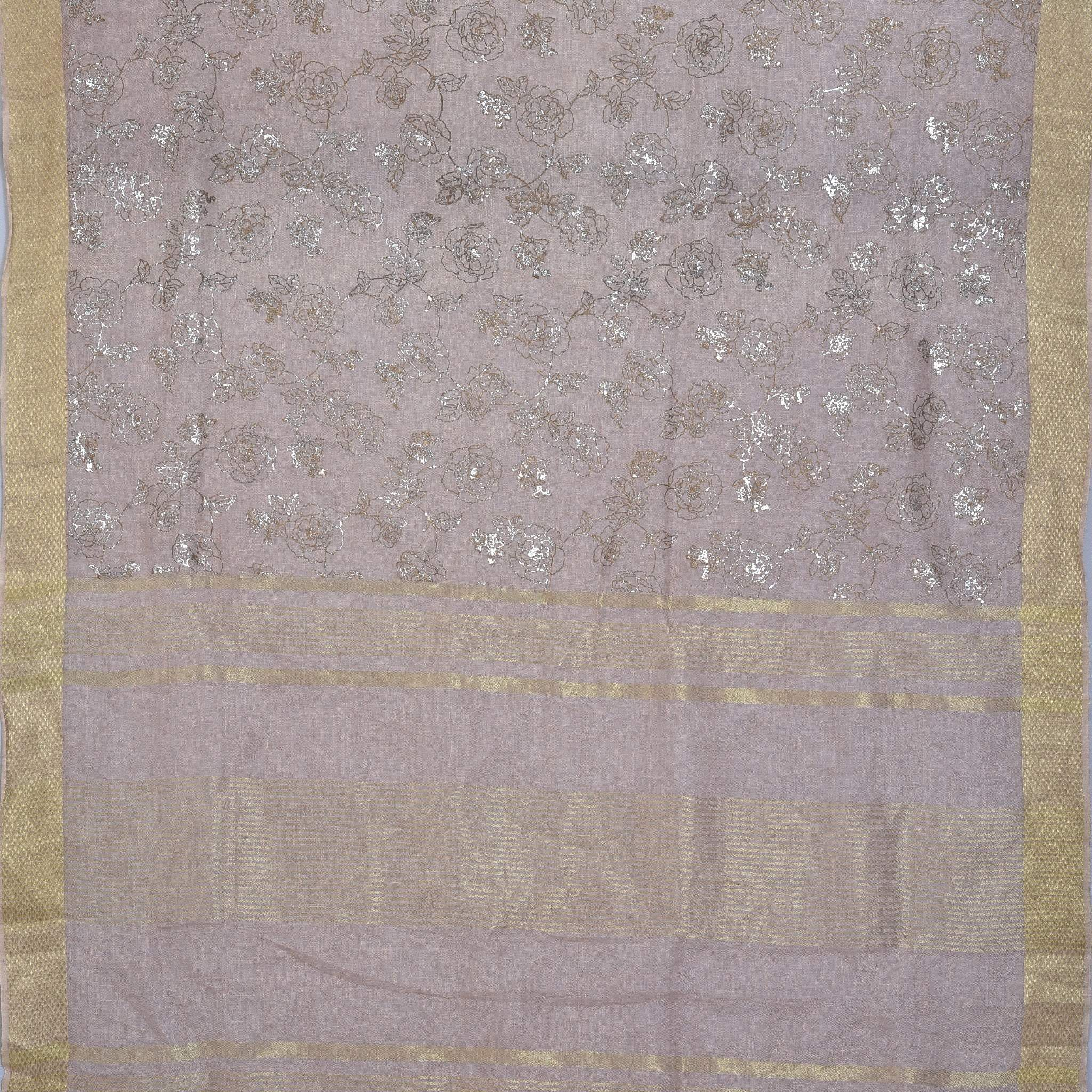 BB080324-Soft Pink Handloom Linen Foil Printed Saree