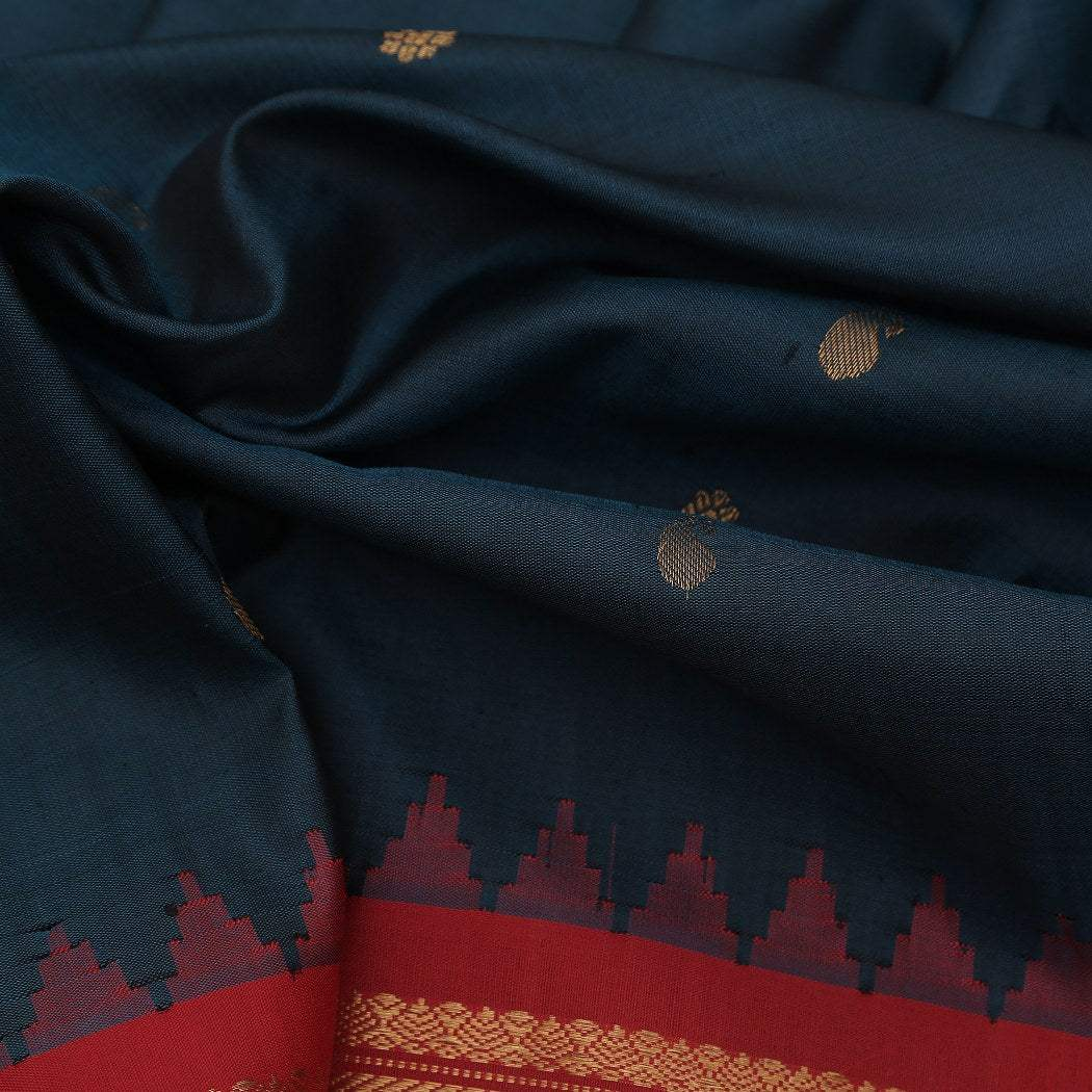 BB080544-Dark Peacock Green Gadwal Silk Handloom Saree With Paisley Buttas