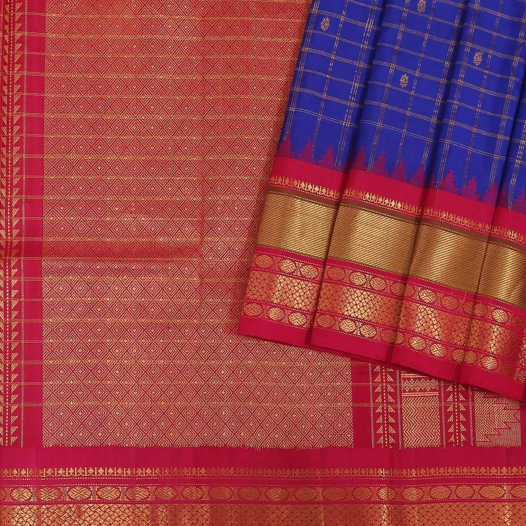 Cobalt-Blue-Gadwak-Silk-Handloom-Saree-With-Kuttu-Border