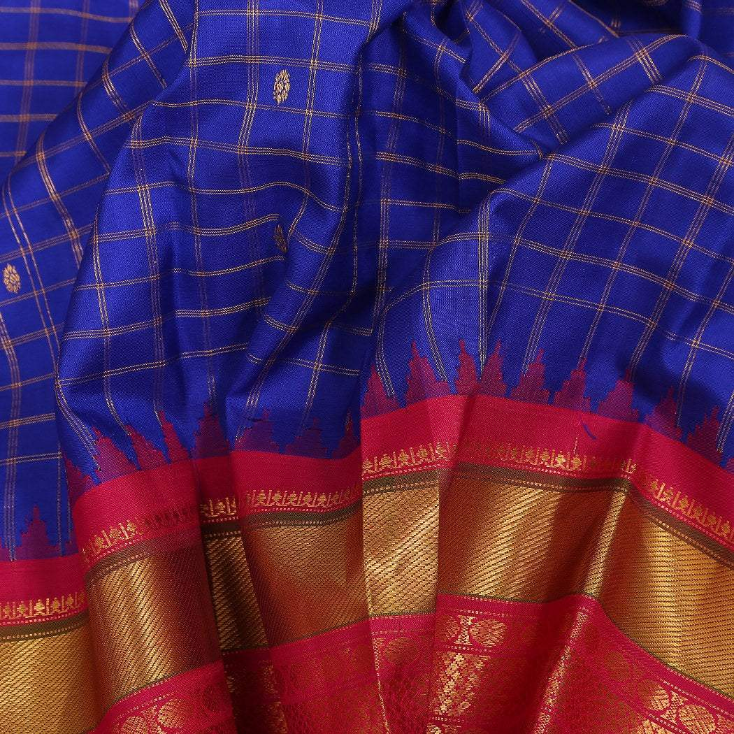 BB080549-Cobalt Blue Gadwal Silk Handloom Saree With Kuttu Border