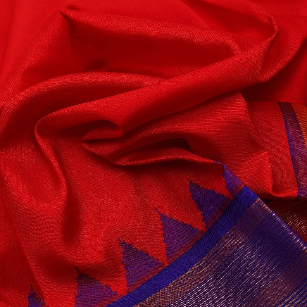 BB080550-Cherry Red Gadwal Silk Handloom Saree With Kuttu Border