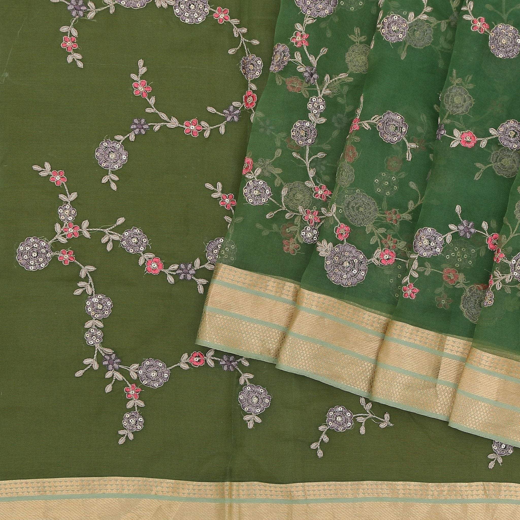 Moss-Green-Organza-Saree-with-all-over-Floral-jaal-embroidery.