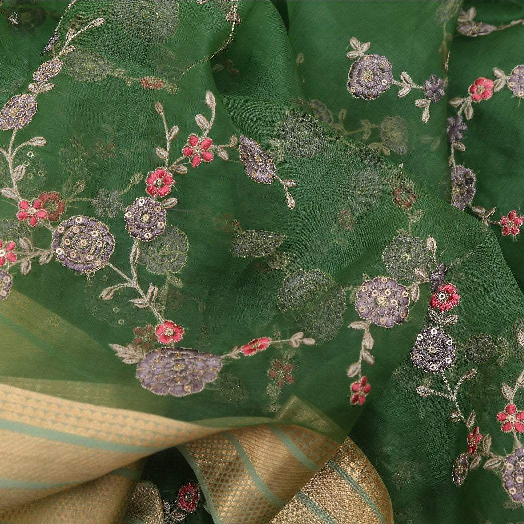 BB080982-Moss Green Organza Saree with all over Floral jaal embroidery