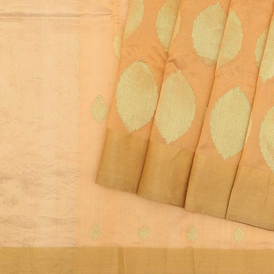 Beige-Pranpur-Silk-Handloom-Saree-With-Oval-Motifs