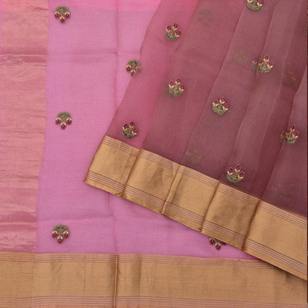 Rouge-Pink-Organza-Saree-with-dainty-Floral-buttas.