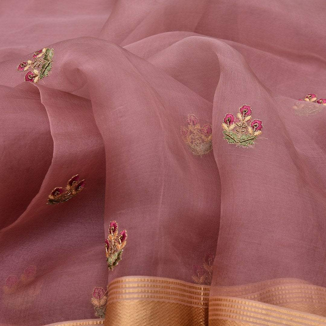 BB082248-Rouge Pink Organza Saree with dainty Floral buttas
