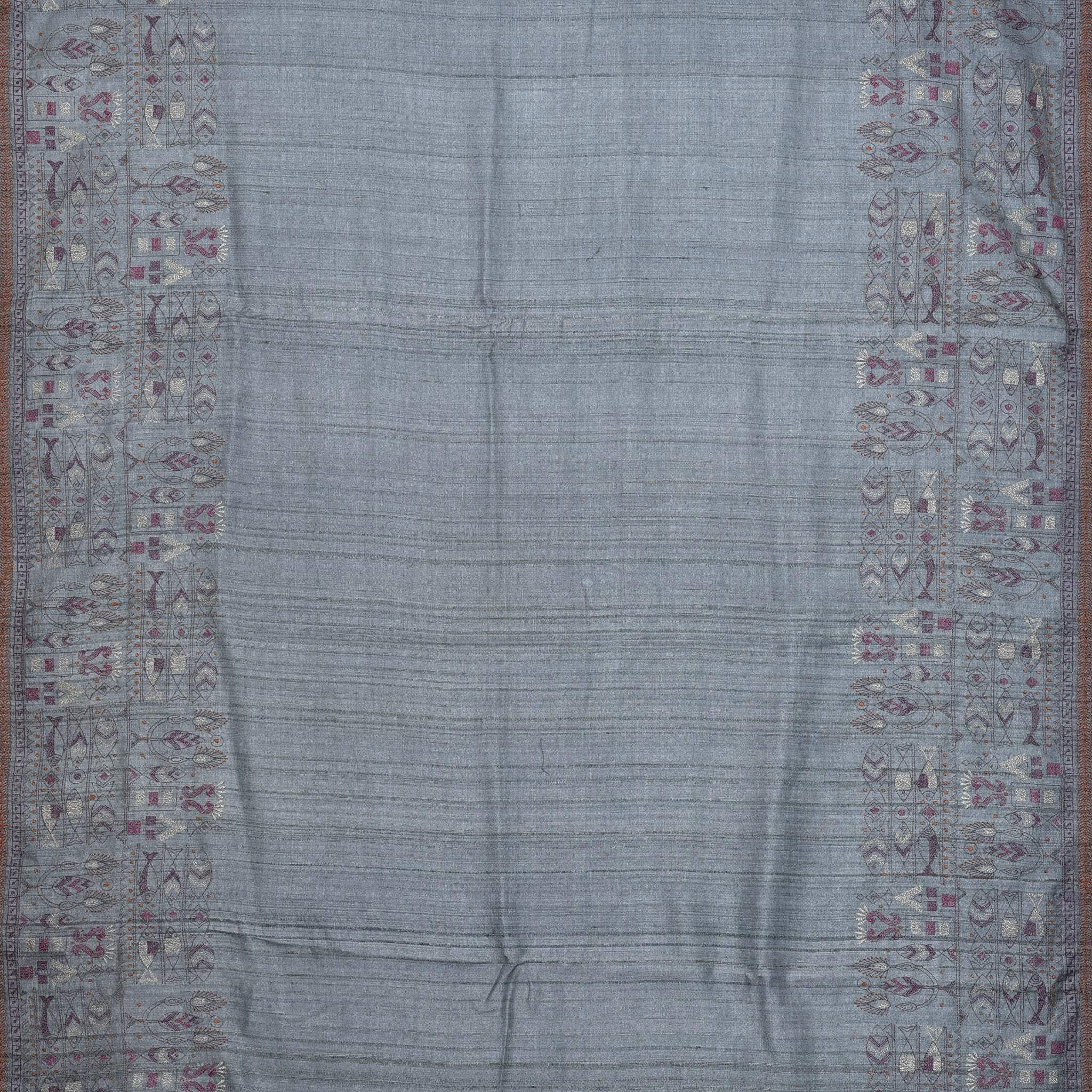 BB083175-Steel Grey Tussar Handloom Embroidered Saree
