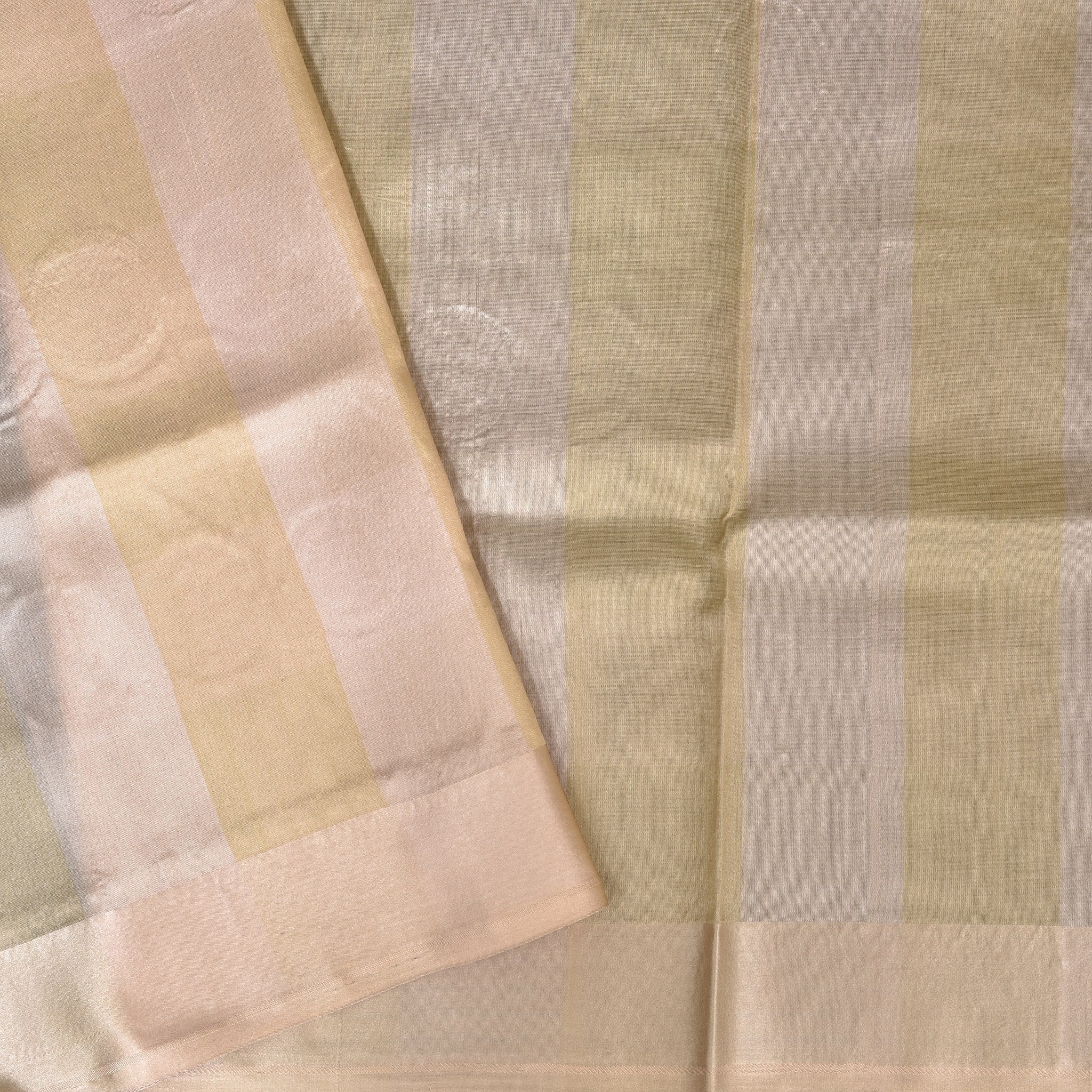 BB083875-Self-Stripped Handloom Banarasi Silk Saree in shades of White