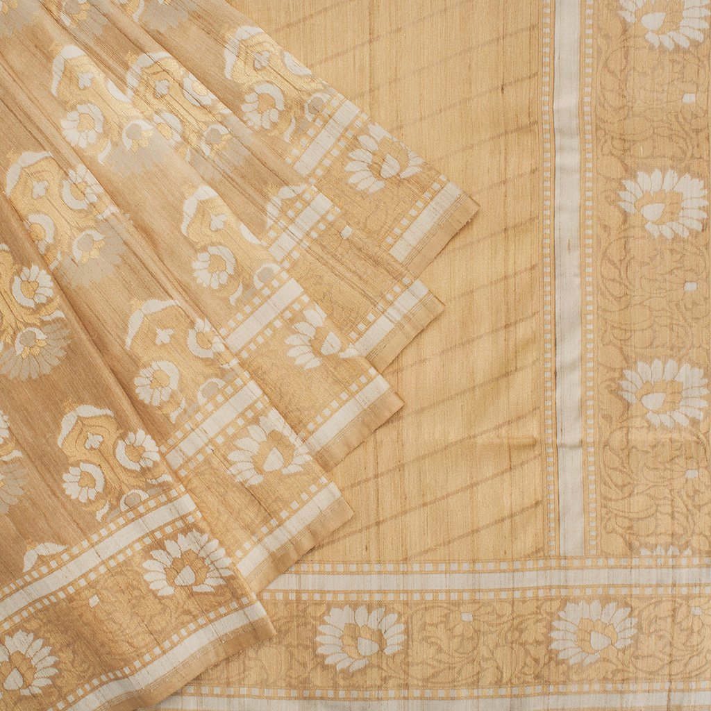 buy Pastel Orange Banarasi Tussar Handloom Saree Online