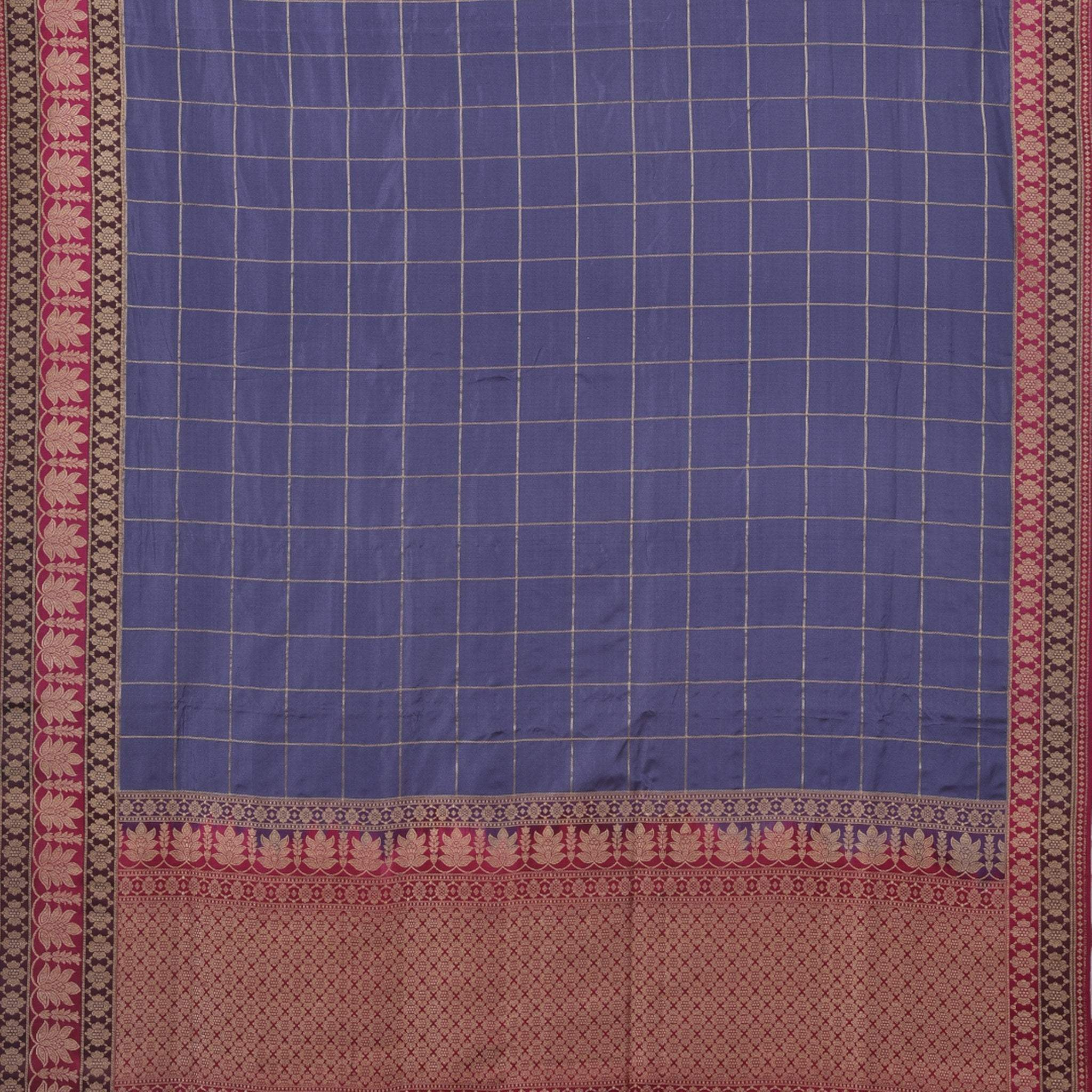 BB084584-Dusky Purple Handloom Banarasi checkered Silk Saree