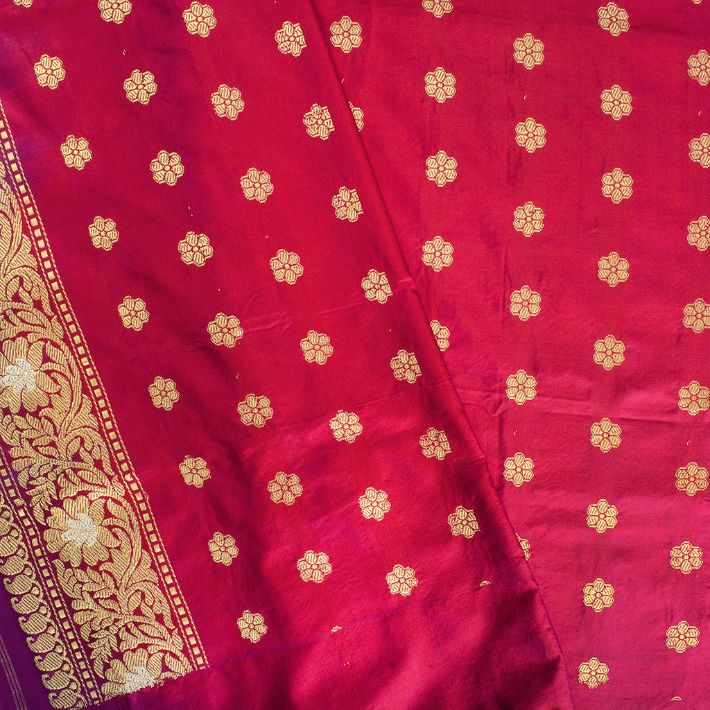 228103-Purple Banarasi Silk Handloom Saree