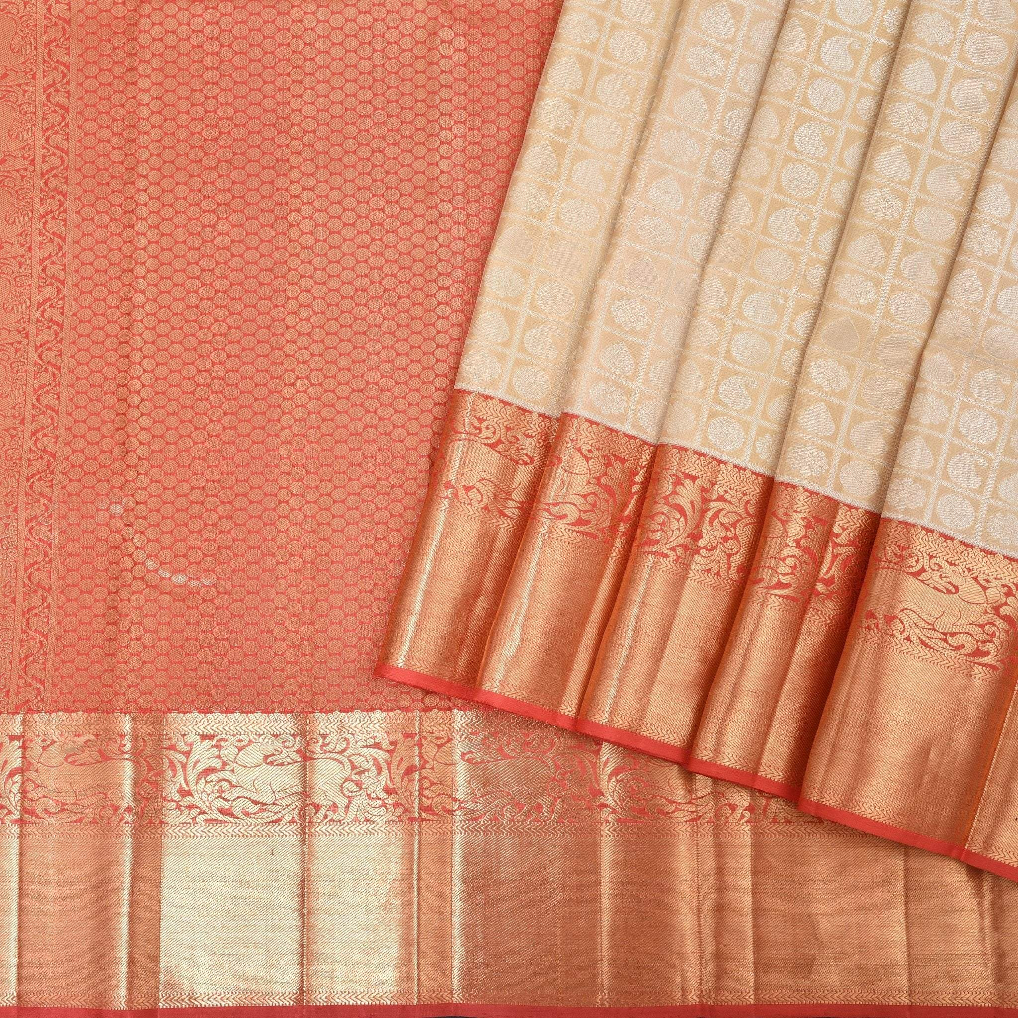 Cream-White-Handloom-Kanjeevaram-Silk-Saree.