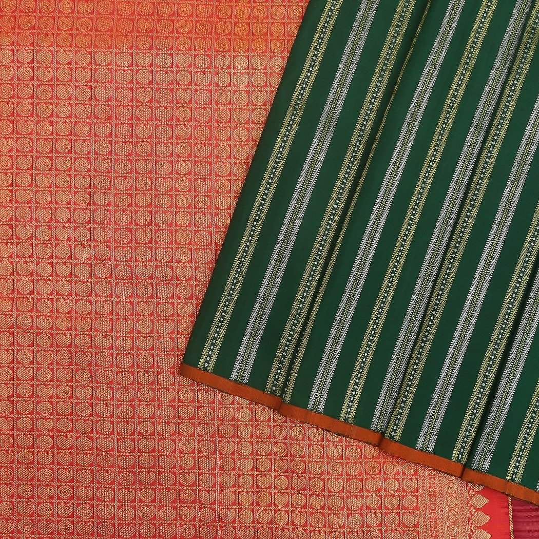 Juniper-Green-Kanjivaram-Handloom-Silk-Saree-with-zari-Stripes.