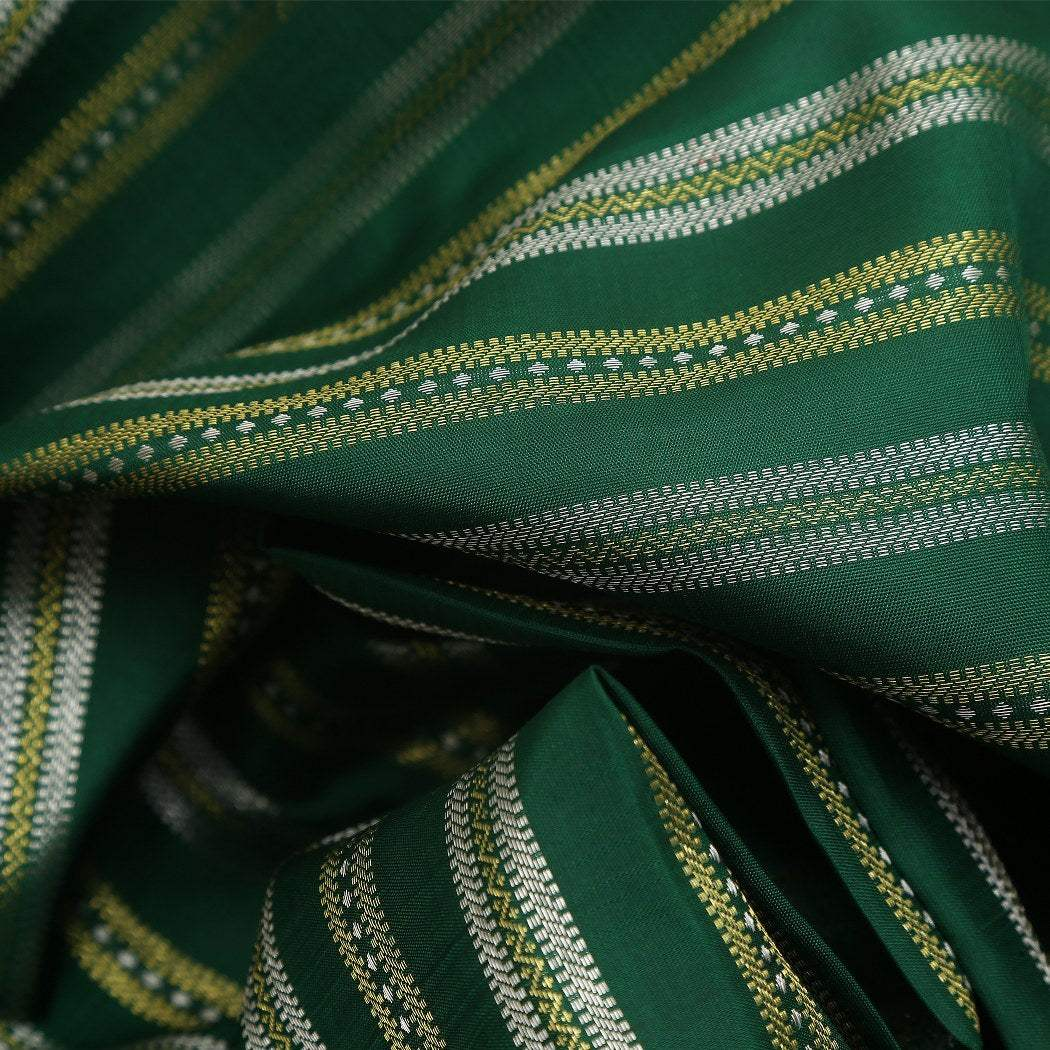 BB084863-Juniper Green Kanjivaram Handloom Silk Saree with zari Stripes