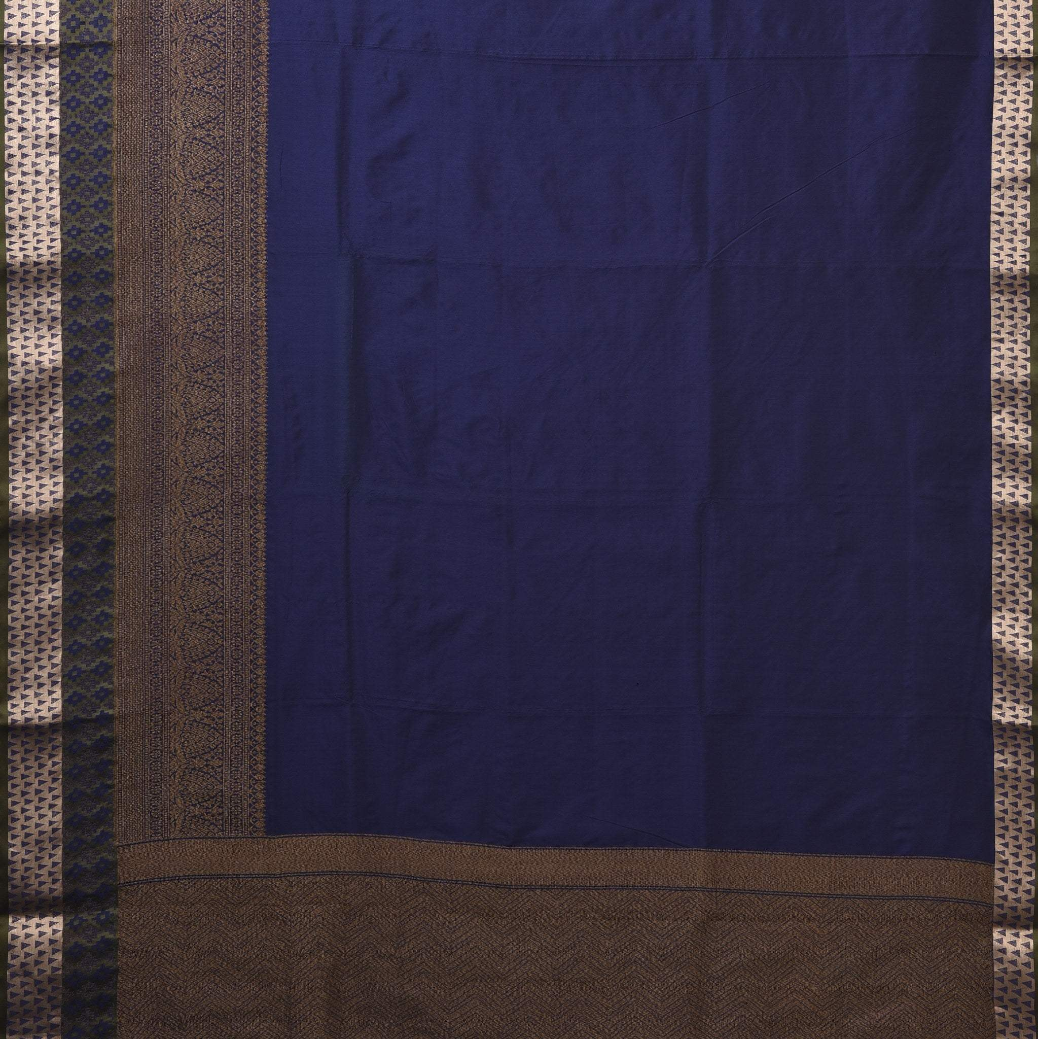 BB085148-Navy Blue Banarasi Silk Handloom Saree