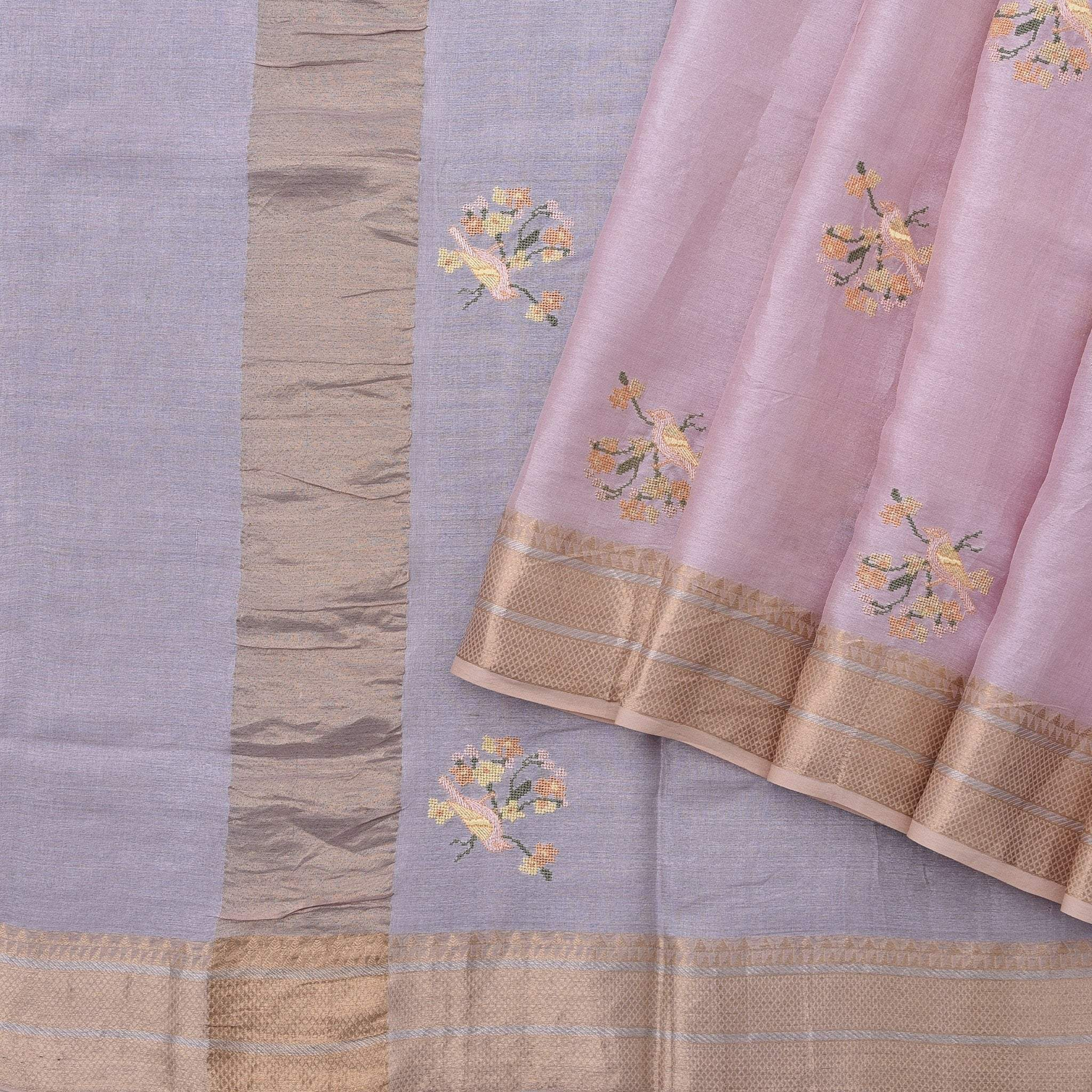 Rose-Pink-Handloom-Tussar-Embroidered-Saree
