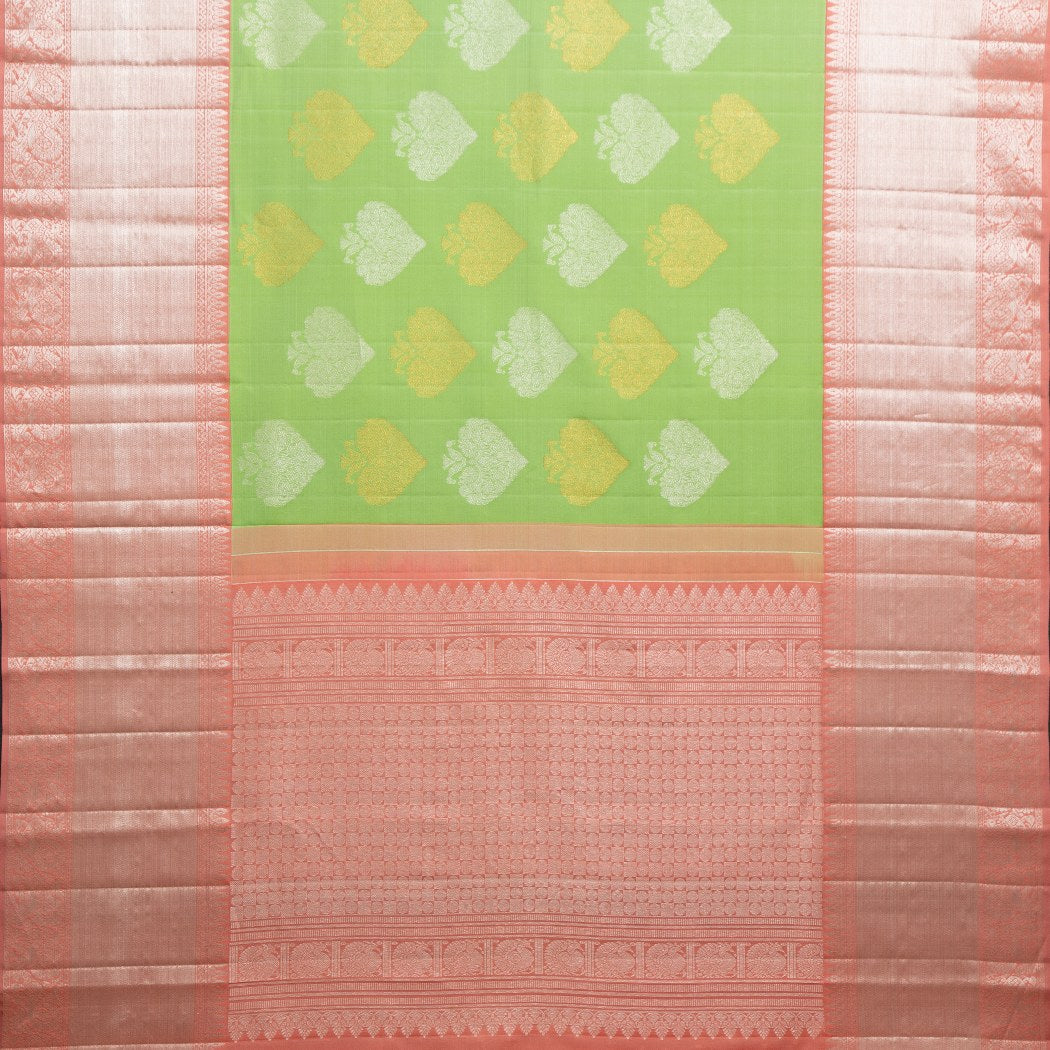 BB085633-Lime Green Korvai Kanjivaram Silk Handloom Saree With Floral Motifs