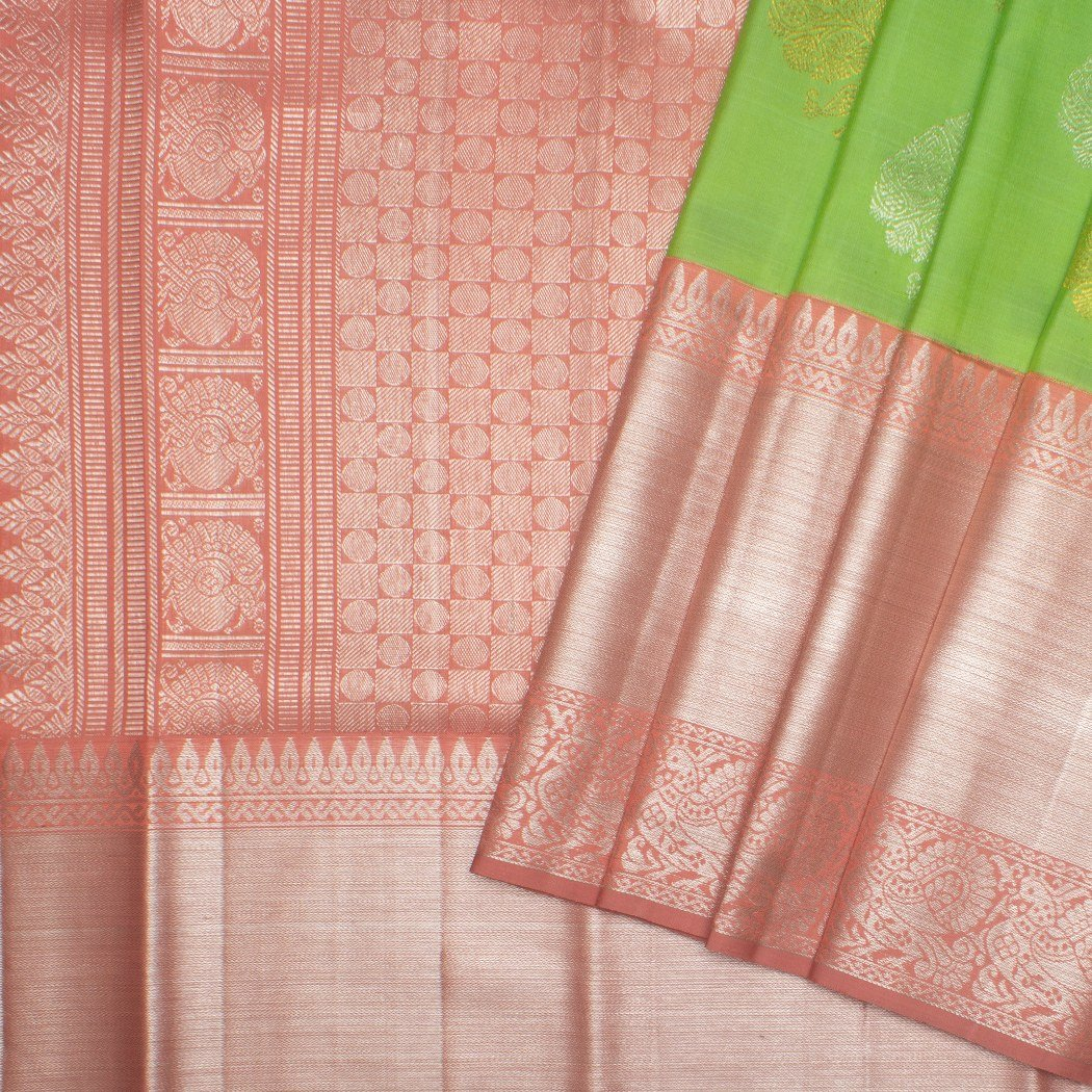 buy Lime Green Korvai Kanjivaram Silk Handloom Saree With Floral Online