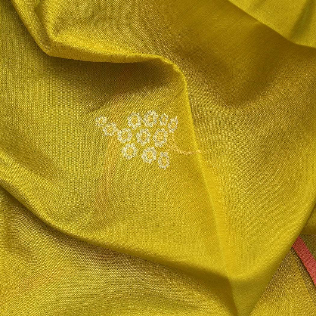 BB088120-Olive Yellow Kanjivaram Silk Handloom Saree With Floral Motifs