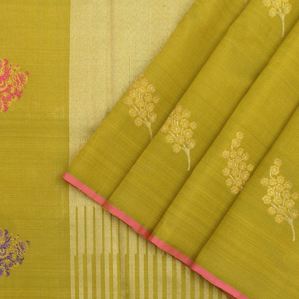 Olive-Yellow-Kanjivaram-Silk-Handloom-Saree-With-Floral-Motifs