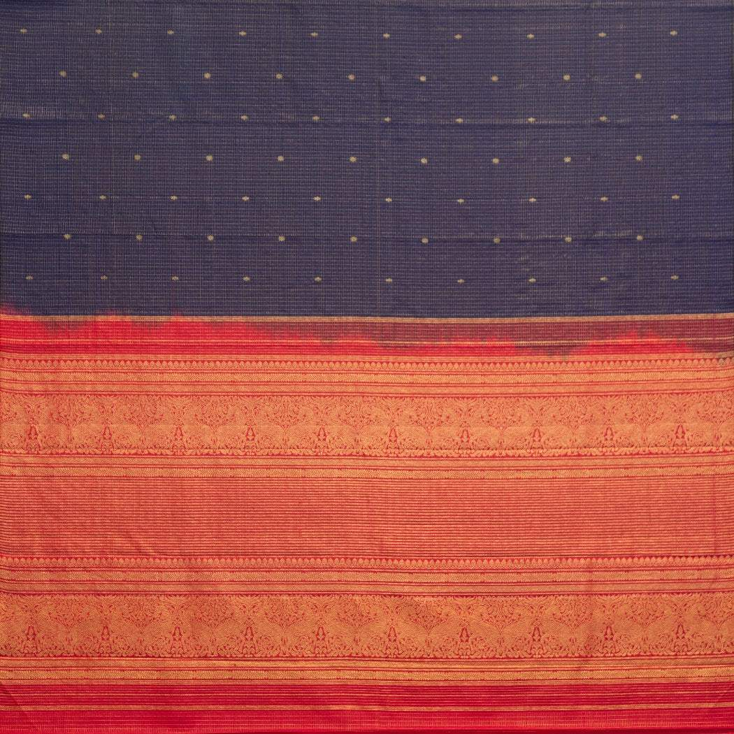 BB088121-Navy Blue Kanjivaram Silk Handloom Saree With Checks