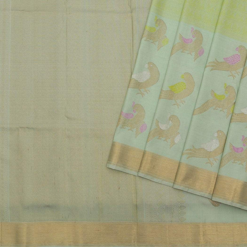 Pista-Green-Kanjivaram-Silk-Handloom-Saree-With-Peacock-Motifs
