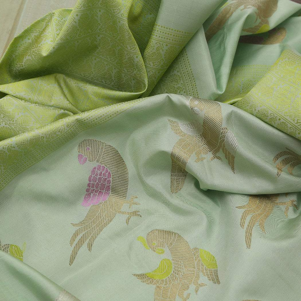 BB088253-Pista Green Kanjivaram Silk Handloom Saree With Peacock Motifs