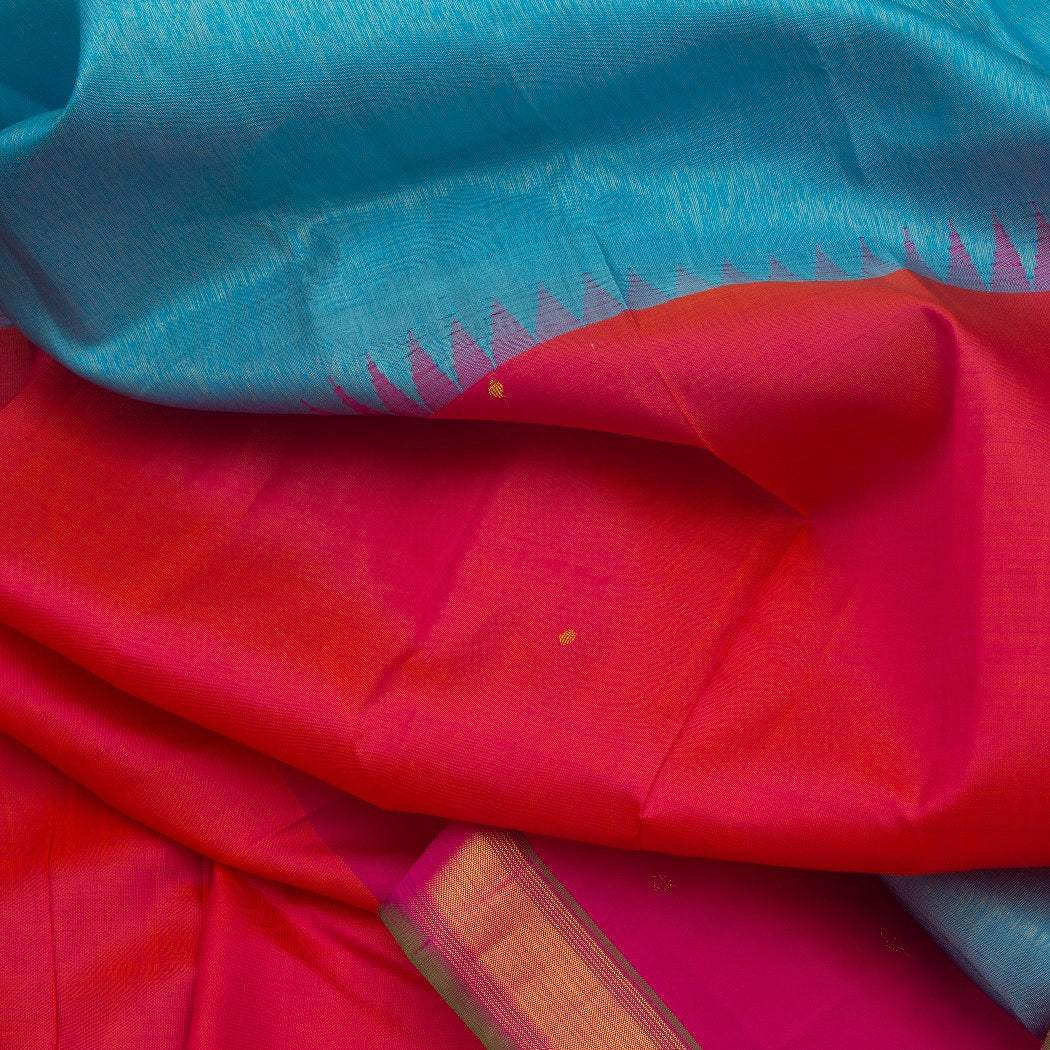BB088276-Sky Blue Kanjivaram Silk Handloom Saree With Multicolor Border