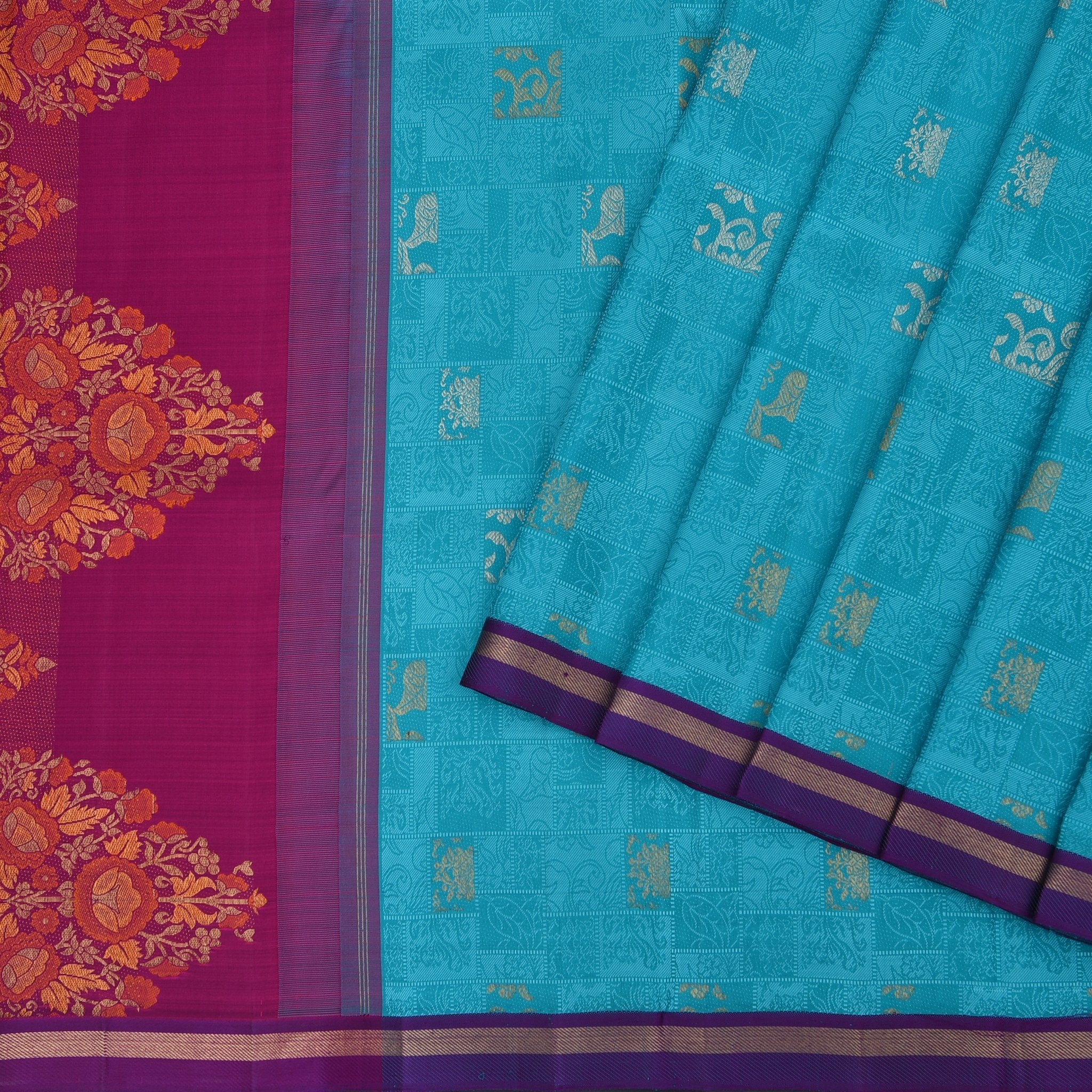 Teal-Blue-self-woven-Borderless-Kanjivaram-Handloom-Silk-Saree