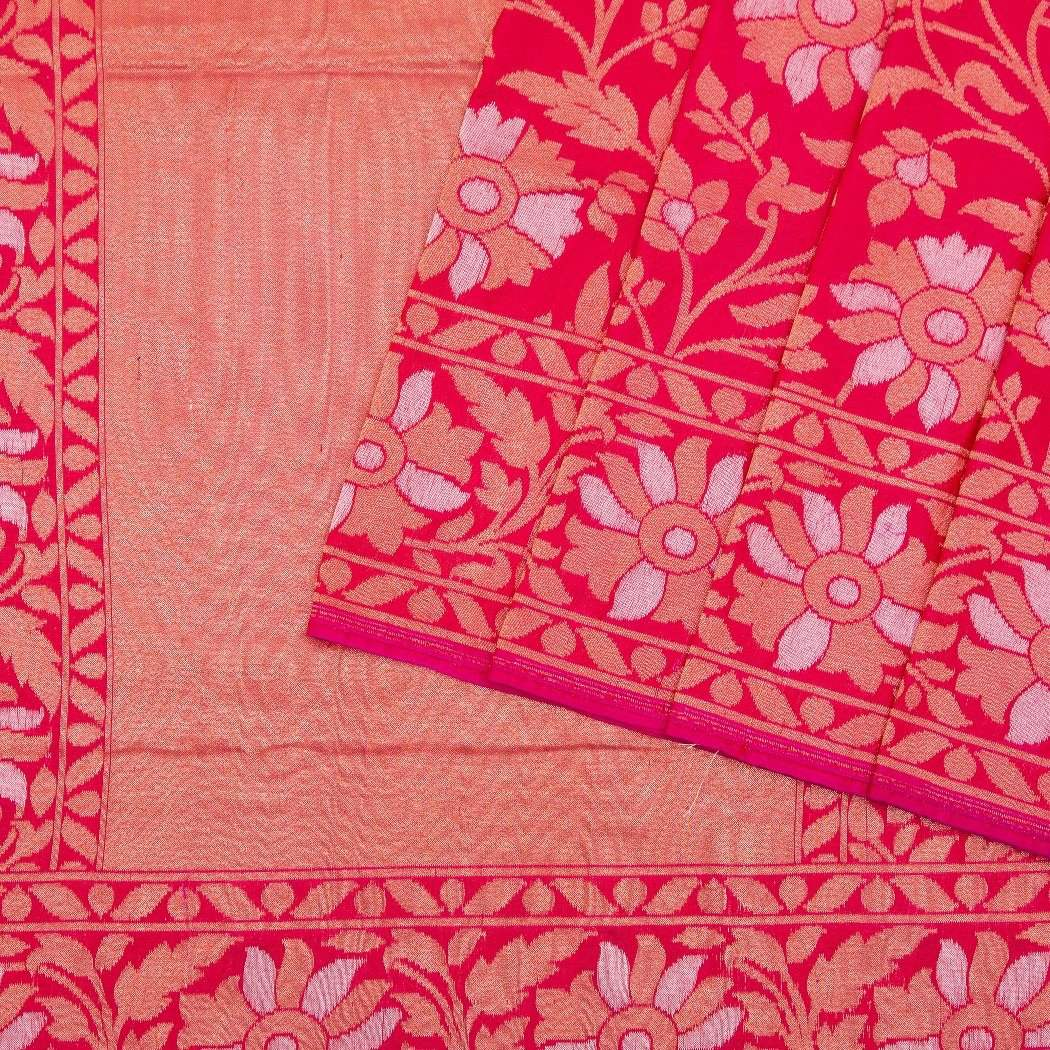 Hot-Pink-Banarasi-Silk-Handloom-Saree-With-Floral-Jaal