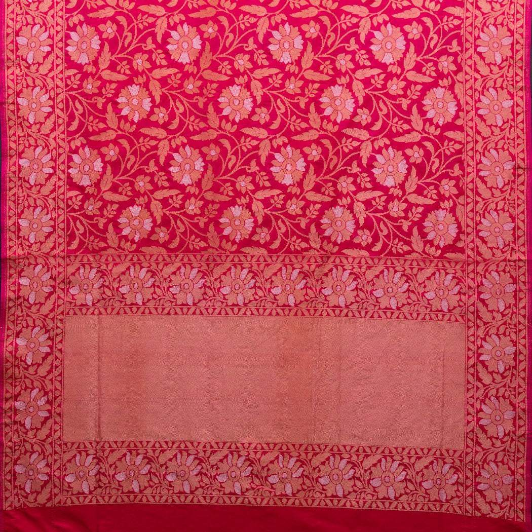 BB089325-Hot Pink Banarasi Silk Handloom Saree With Floral Jaal