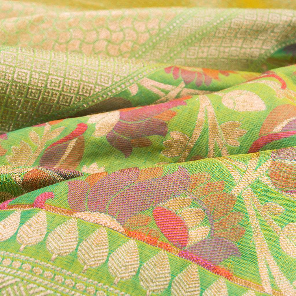 BB089381-Lime Green Banarasi Tussar Silk Handloom Saree