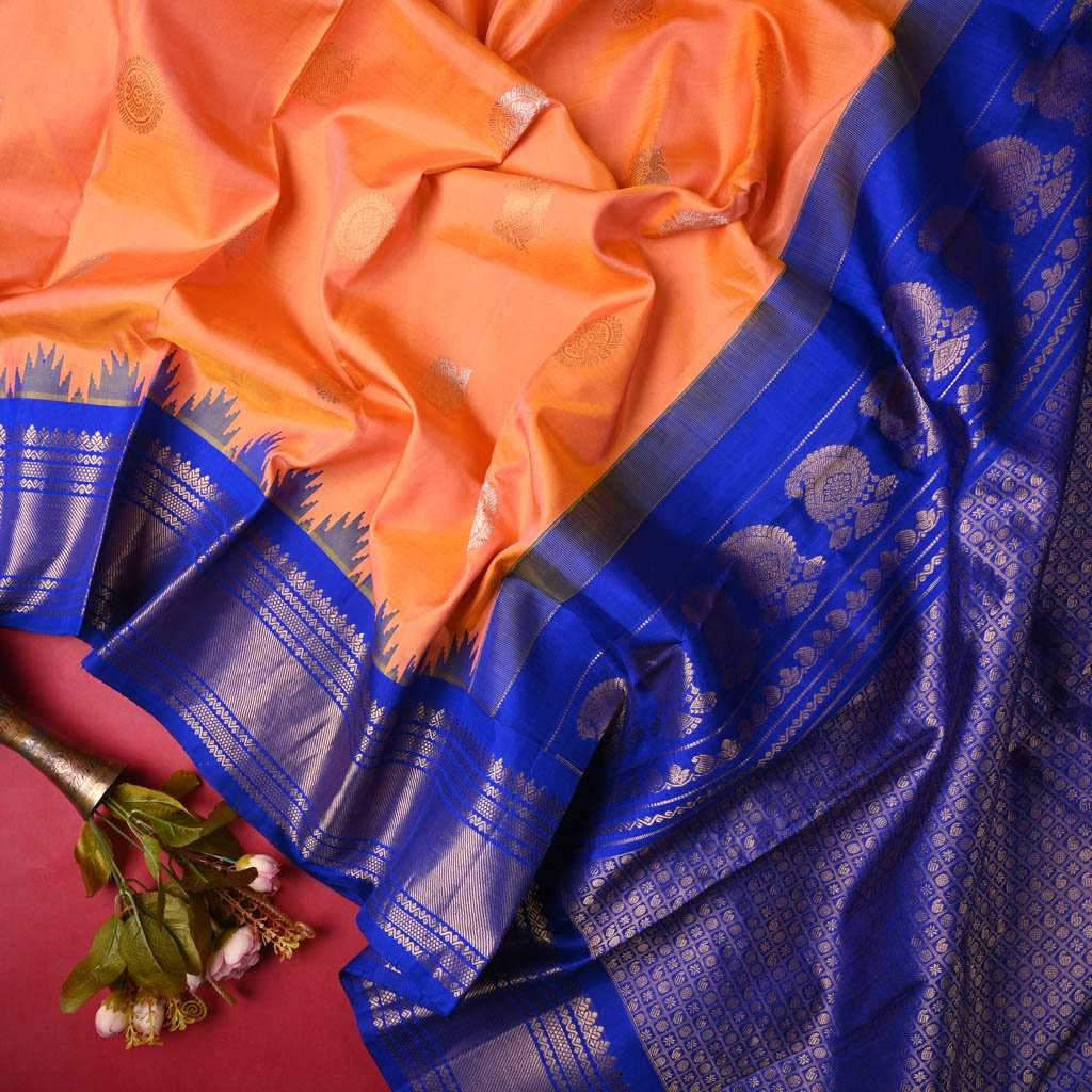 Buy Canataloupe Orange Gadwal Silk Handloom Saree