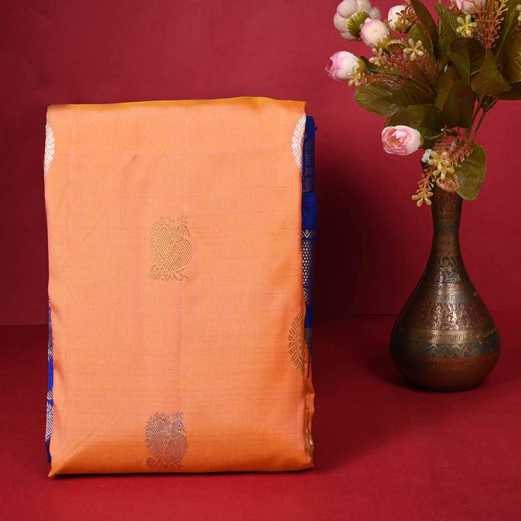 228878-Canataloupe Orange Gadwal Silk Handloom Saree