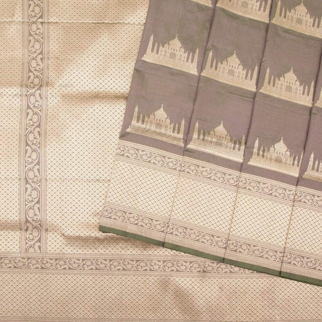Dual-Toned-Grey-Green-Banarasi-Silk-Handloom-Saree-with-Taj -Mahal-Motifs