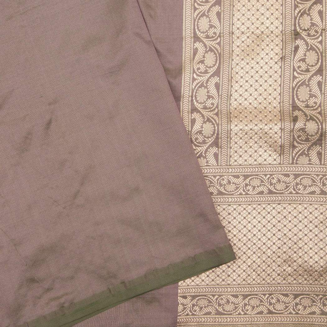 BB091674-Dual Toned Grey And Green Banarasi Silk Handloom Saree With Taj Mahal Motifs