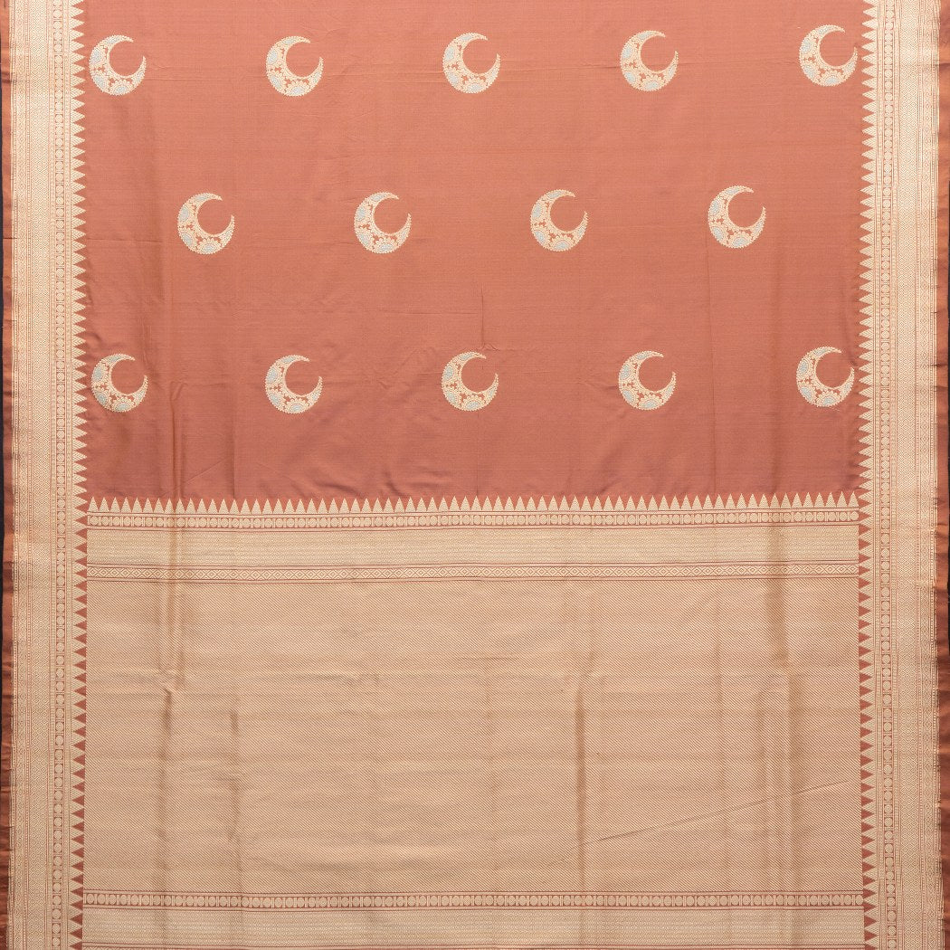 BB091689-Pastel Orange Banarasi Silk Handloom Saree With Moon Motifs
