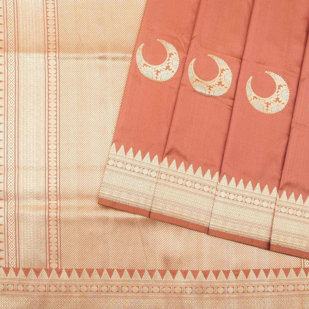 Pastel-Orange-Banarasi-Silk-Handloom-Saree-With-Moon-Motifs