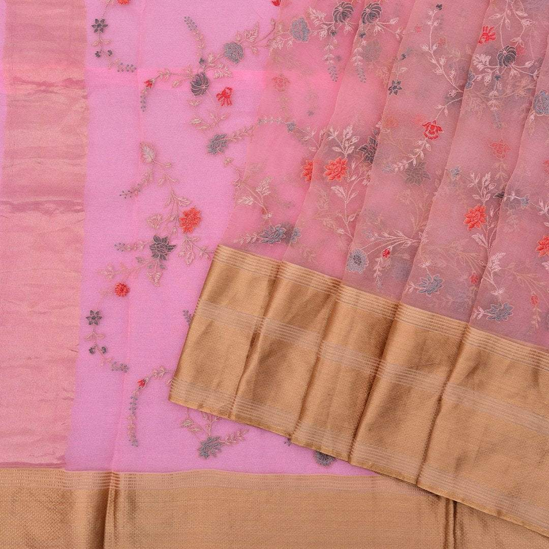 Bubblegum-Pink-Organza-Saree-with-Floral-Embroidered-jaal.