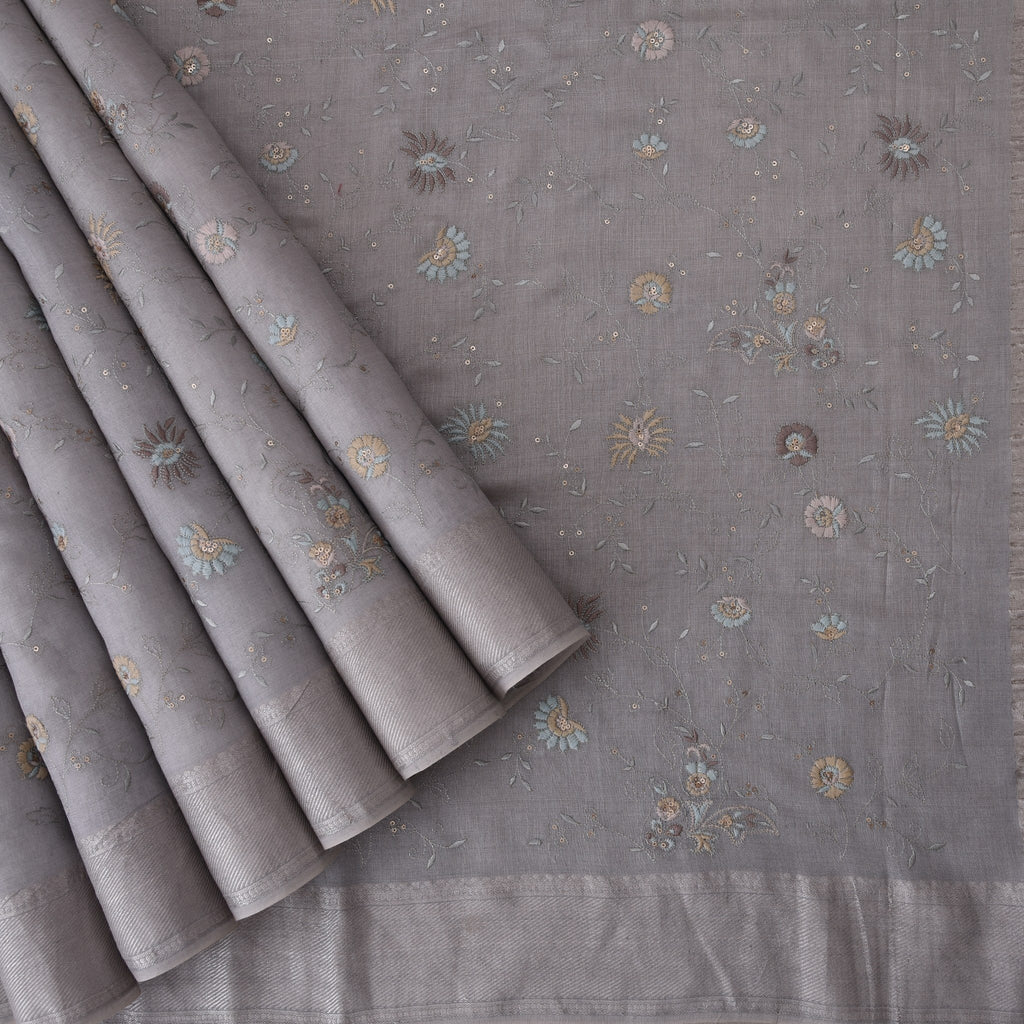 Slate-Grey-Tussar-Embroidery-Handloom-Saree