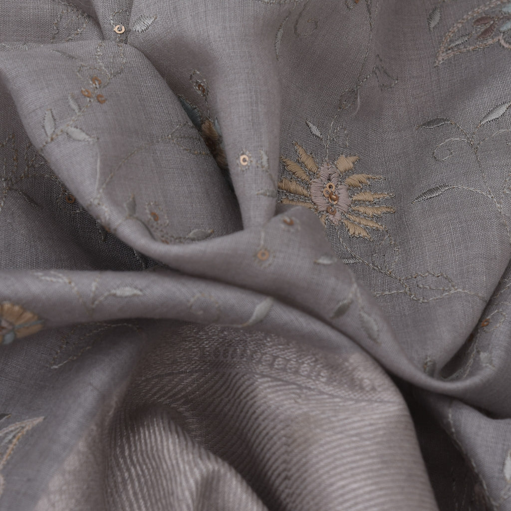 Slate Grey Tussar Embroidery Handloom Saree-SALE242021