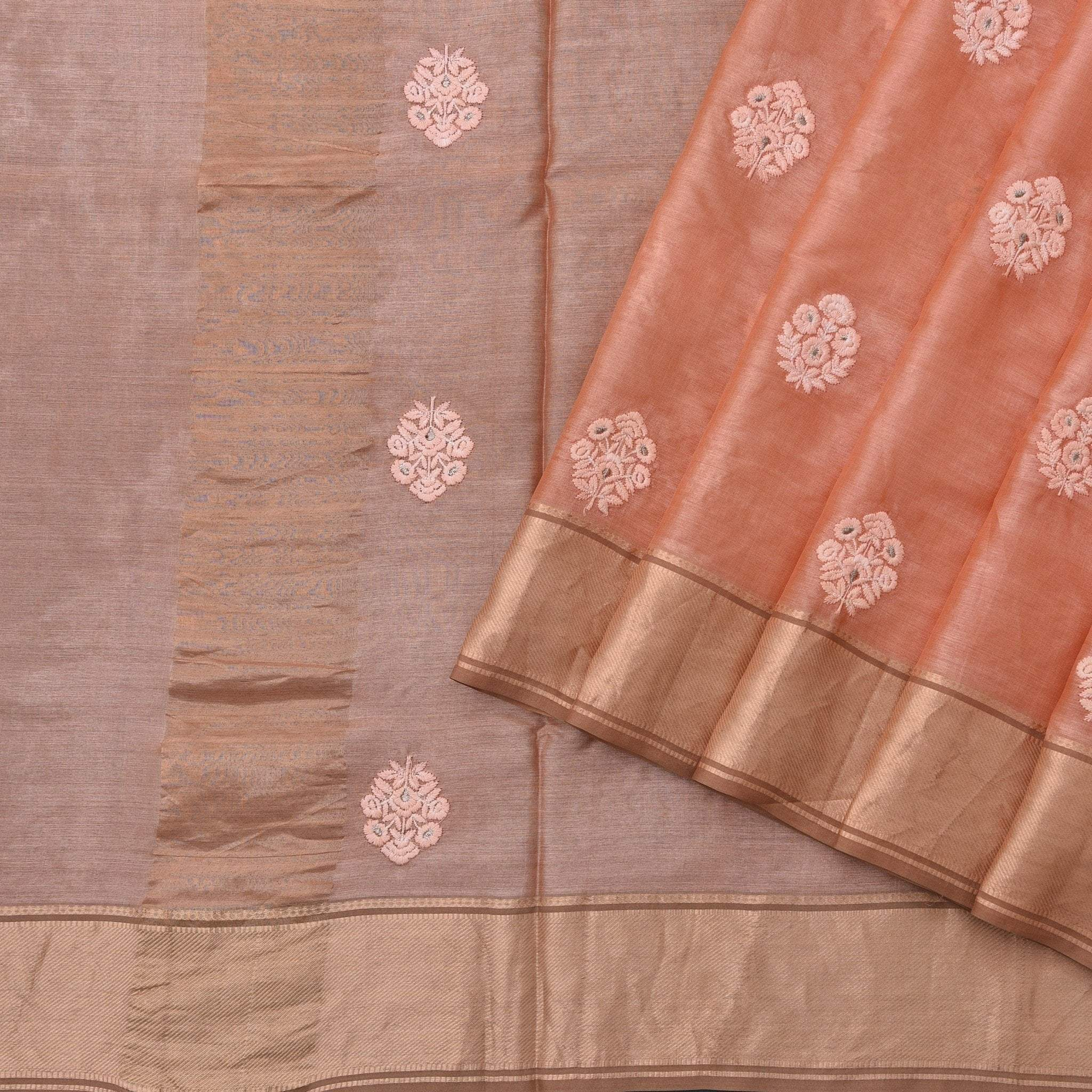 Mellow-Peach-Handloom-Tussar-Embroidered-Saree