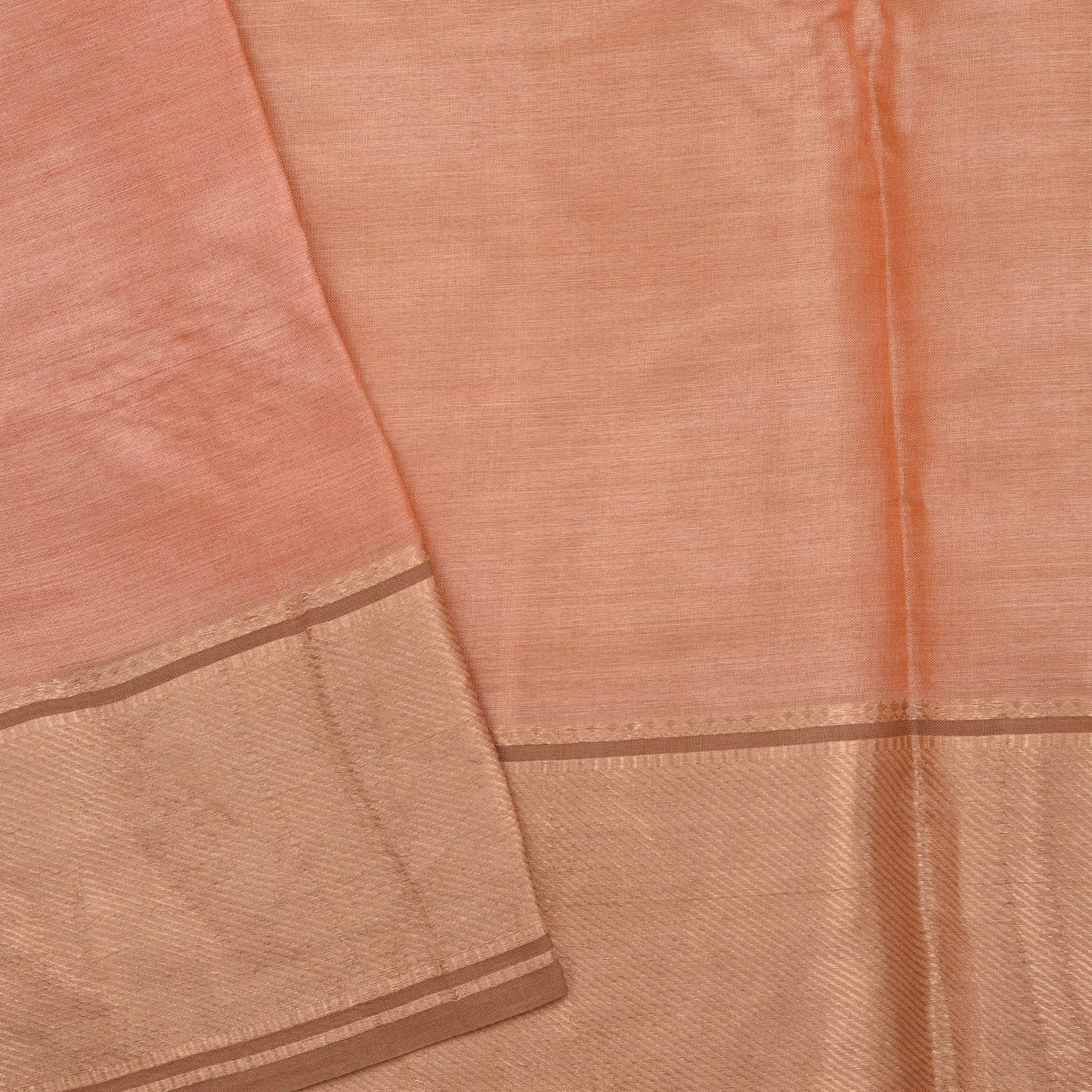 BB092747-Mellow Peach Handloom Tussar Embroidered Saree