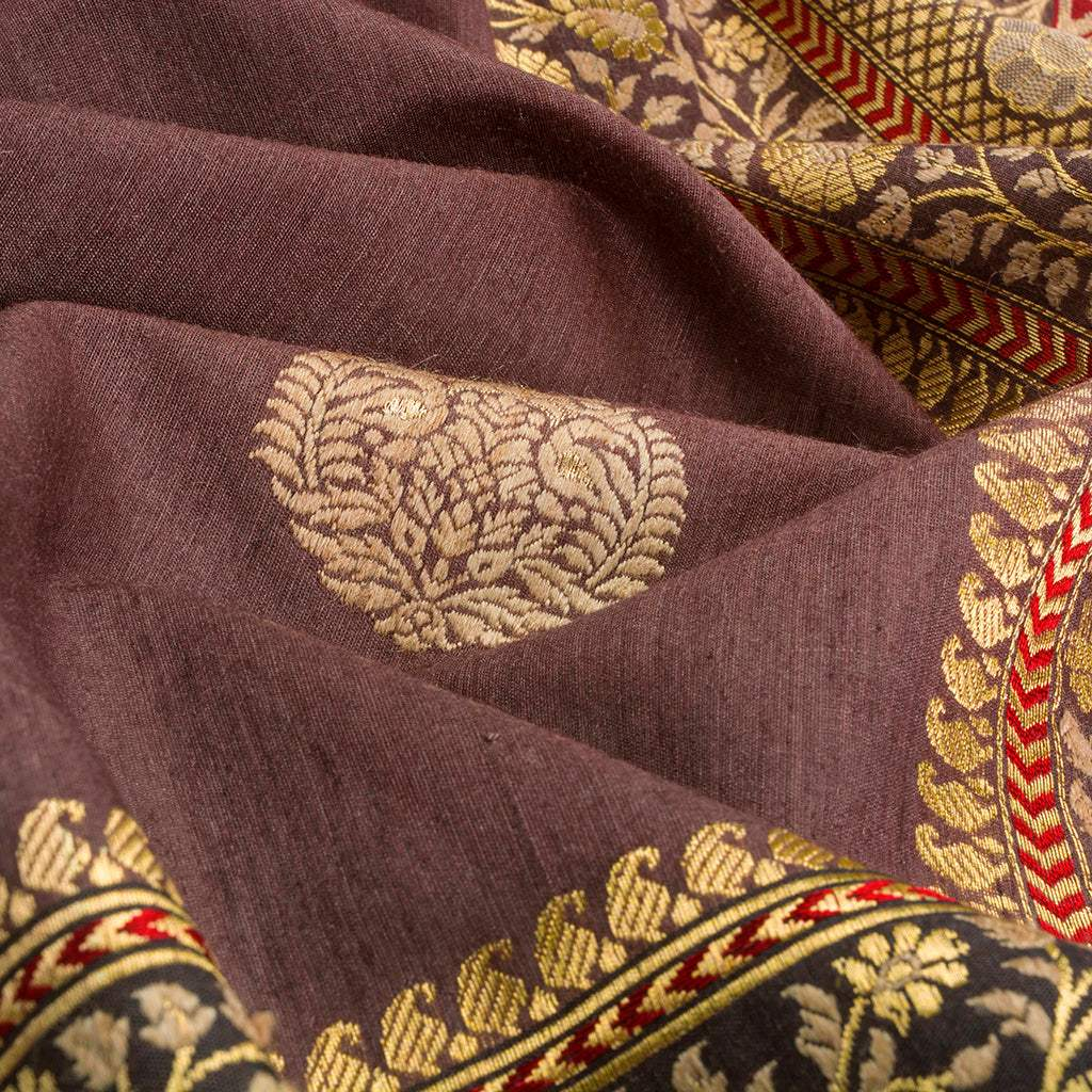 Coco Brown Banarasi Silk Handloom Saree