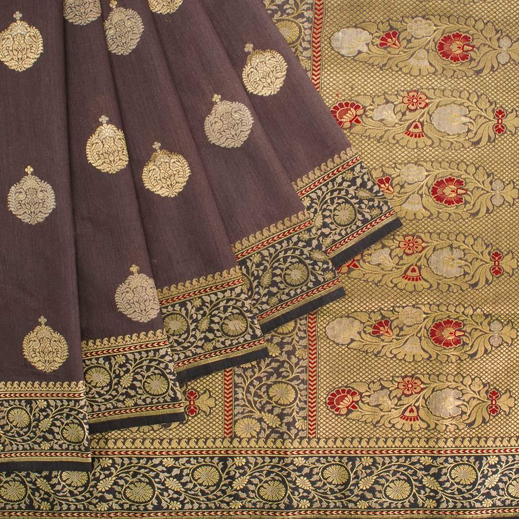 Coco-Brown-Banarasi-Silk-Handloom-Saree