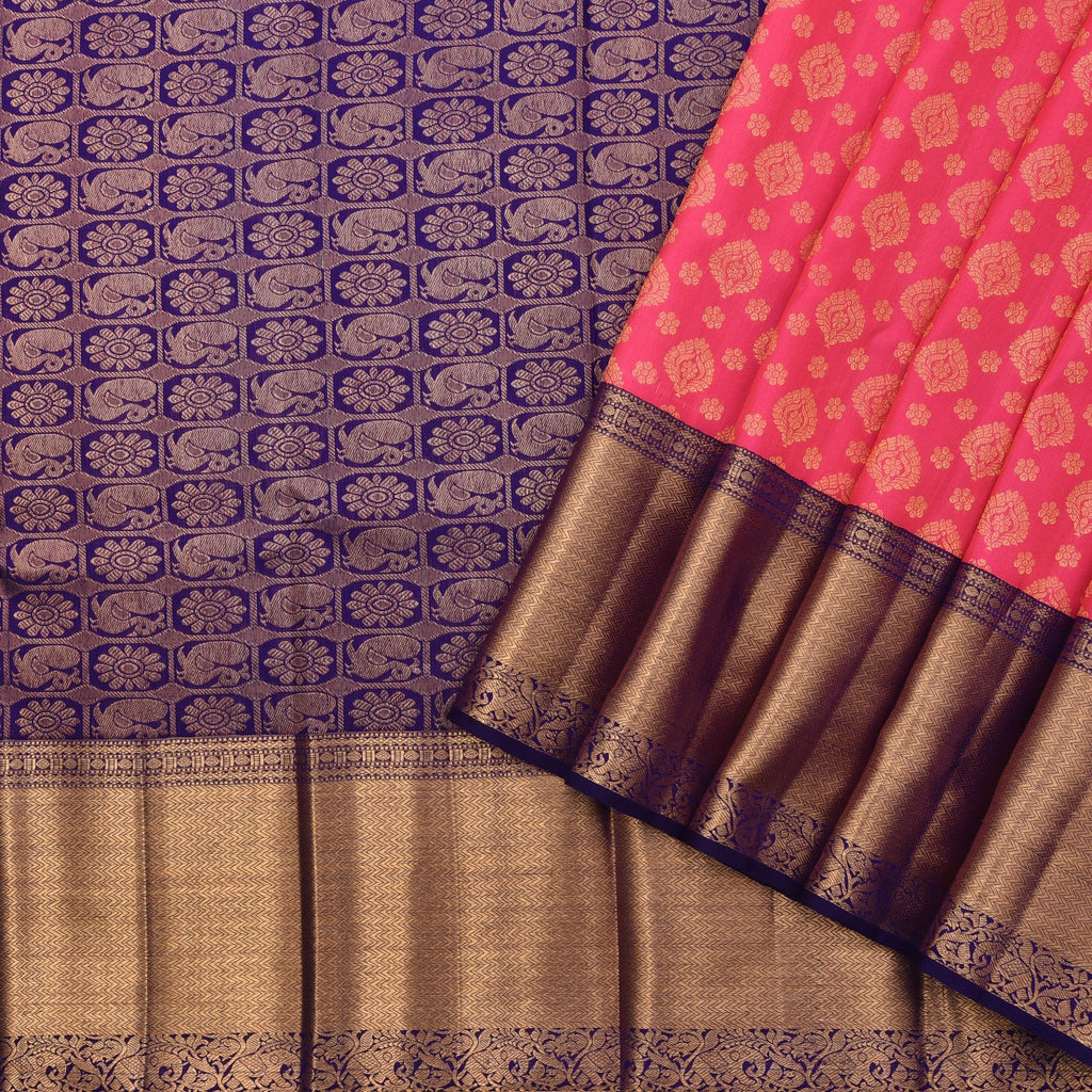 Hot-Pink-Handloom-Korvai-Kanjivaram-Silk-Saree