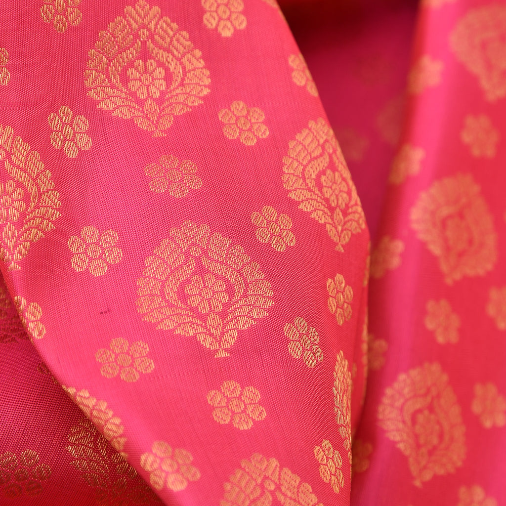 Hot Pink Handloom Korvai Kanjivaram Silk Saree