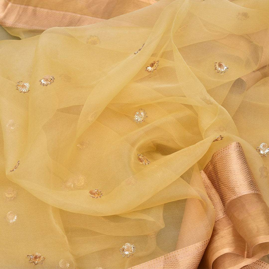BB095029-Daffodil Yellow Organza Saree with Flower Embroidered buttas