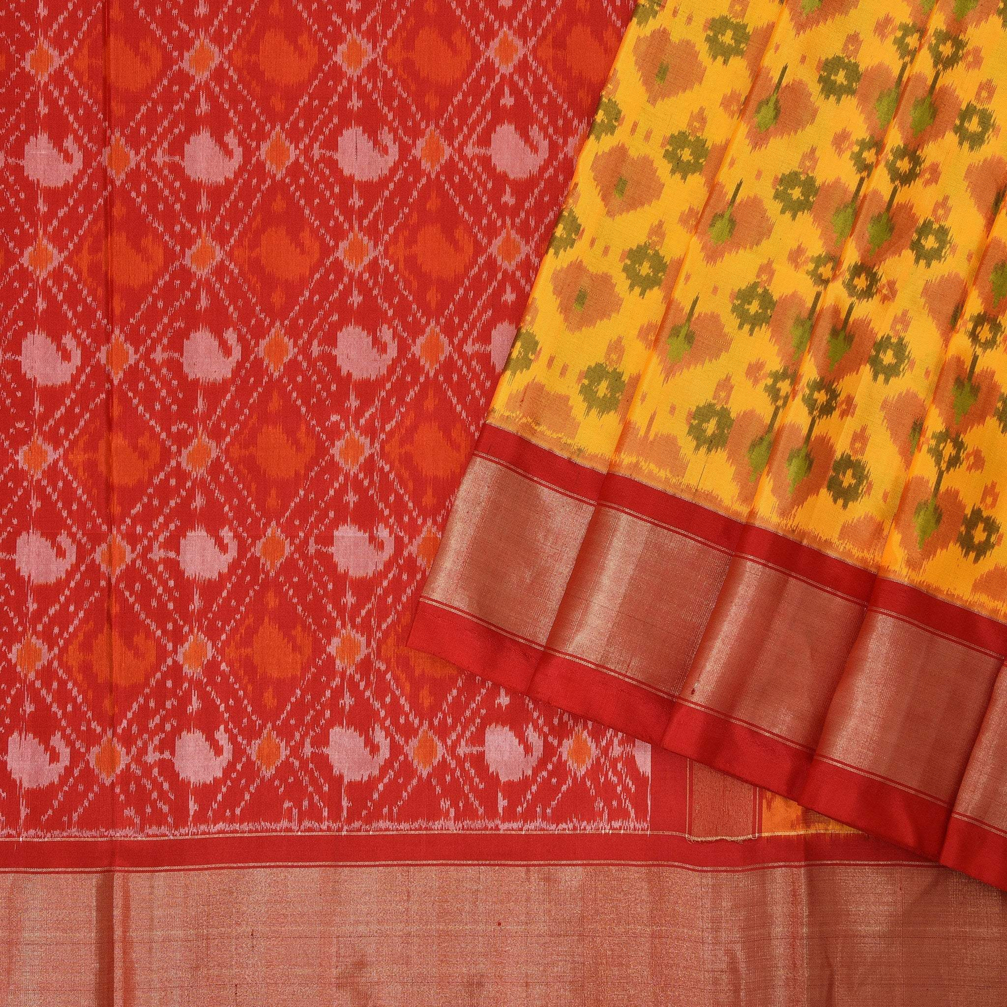 BB095365-Dandelion Yellow Patola Silk Saree